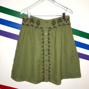 NEW Maeve linen blend embroidered skirt